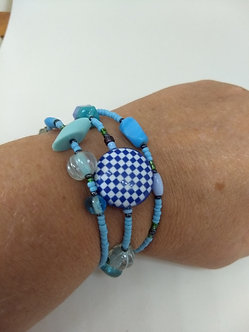 Wrap bracelet in blue one-size-fits-all with checkered Blue Button