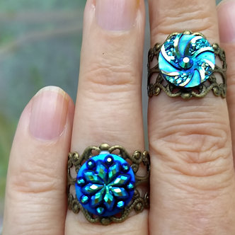 Adjustable filigree ring with blue cabochon for the mermaid in you