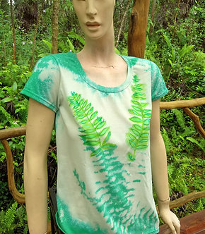 Soft poly cotton T in green with ferns