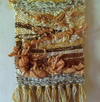 Woven wall art with texture, felted yarn woven tapestry in neutral colors