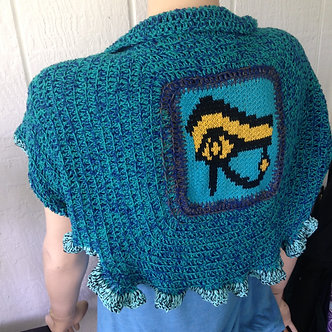 Capelet with Eye of Horus, small cape or shrug in turquoise wool and cotton