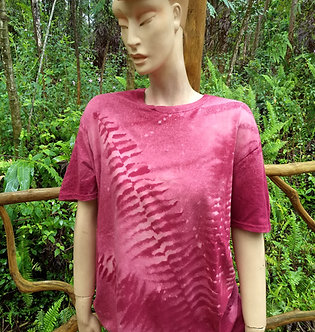 Unisex T in Maroon with bleach dyed ferns from my yard