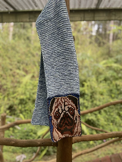 Hand knit scarf with pug face in wool cotton