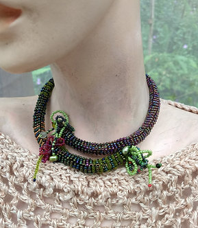 Beaded choker, adjustable memory wure necklace with looped fringe and pearls