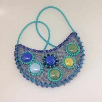 Denim blue beaded bib necklace