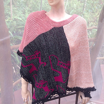 Poncho with shoes pattern, pink cape in cotton silk and sparkle yarn, OOAK