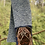 Thumbnail: Hand knit scarf with pug face in wool cotton