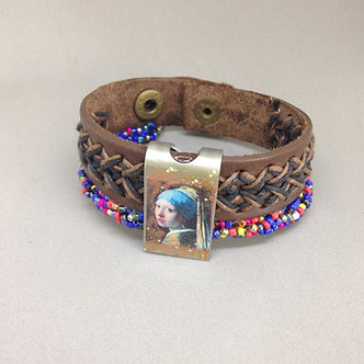 Girl with pearl Vermeer image on snap leather bracelet