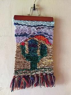 Handwoven cactus wallhanging mixed yarns