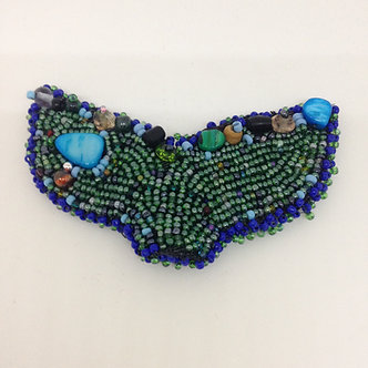 Beaded whale tail pin, green mermaid tail brooch