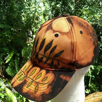 Ball cap with ferns, bleach dyed unisex baseball cap