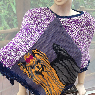 Yorkshire terrier cape in recycled wool cotton crochet and knit, festival wear