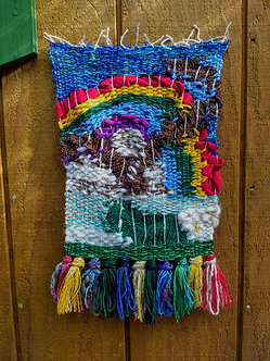 Woven wall hanging with rainbow, primitive small woven wall decot