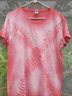 Fern cotton tee with Scoop Neck and ferns placed in X shape