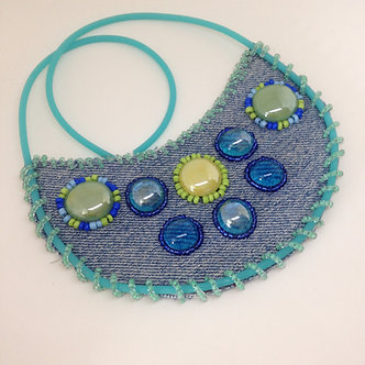 Greenery beaded bib necklace, up-cycled denim