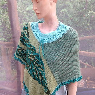 Cotton poncho shrug with leaves in green and turquoise