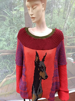 One size oversized cotton knit sweater with miniature pinscher
