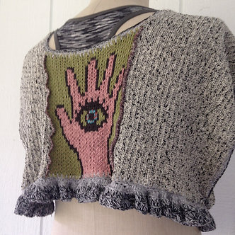 Hamsa capelet, small cape with protective eye symbol, one of a kind wearable art
