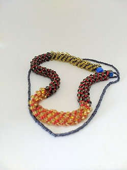 Long seed beaded necklace, multi color spiral beaded necklace