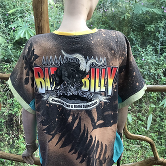 XL refashioned Upcycled T Hawaiian Fish and Game print