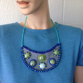 Upcycled denim beaded bib necklace