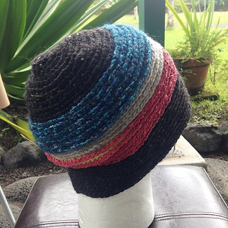 Wooly hat, handmade beanie, crochet cap in muted colors