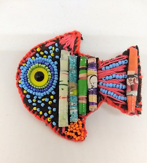 Colorful fish brooch, paper beads and beaded