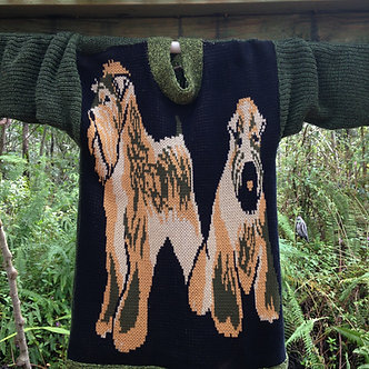Cotton knit sweater tunic with Miniature Schnauzer on the front