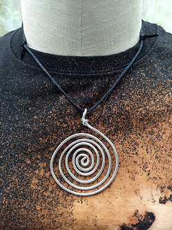 Large wire spiral on satin cord necklace, lightweight and non tarnish