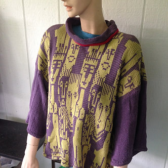 Medium Large sweater with people pattern, cotton knit pullover, purple and lime