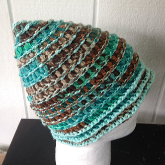 Crochet hat, Turquoise brown beanie hat, rad hat, one of a kind accessories