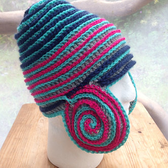 Warrior hat, crochet hat with ear flaps, double knit hat, rad cold weather hat