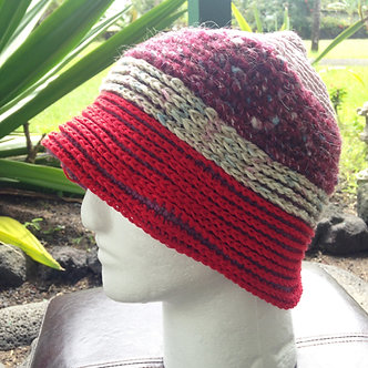 One size hat, crochet beanie, double knit hat, winter hat with red