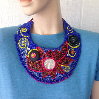 Sun and planets Bead embroidered bib necklace, beaded collar