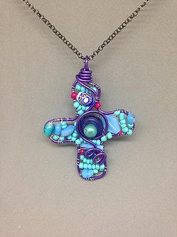 Purple wire cross, large lightweight pendant necklace