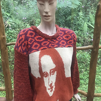 S/M cotton sweater with Mona Lisa