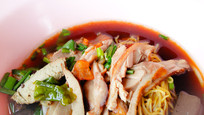 Duck with noodles soup Thai's food backg
