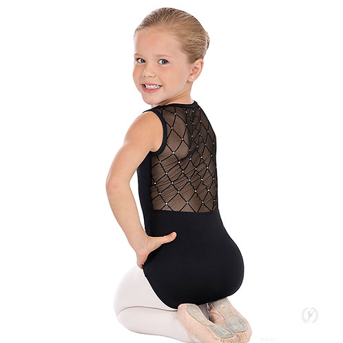 Girls Diamond Mesh Back Tank Leotard