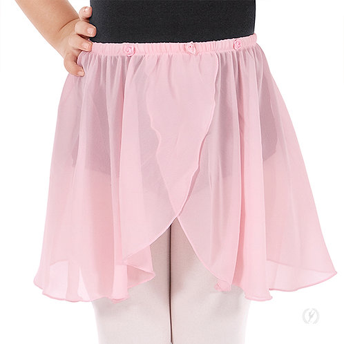 Girls Chiffon Mock Wrap Pull On Skirt with Rosette Waist Detail