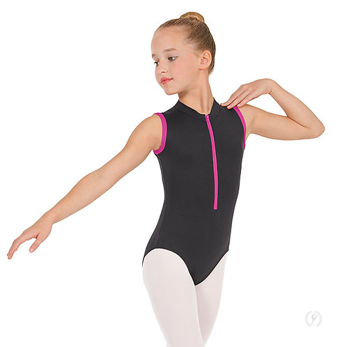 Girls Full Back Zipper Front Mock Neck Leotard