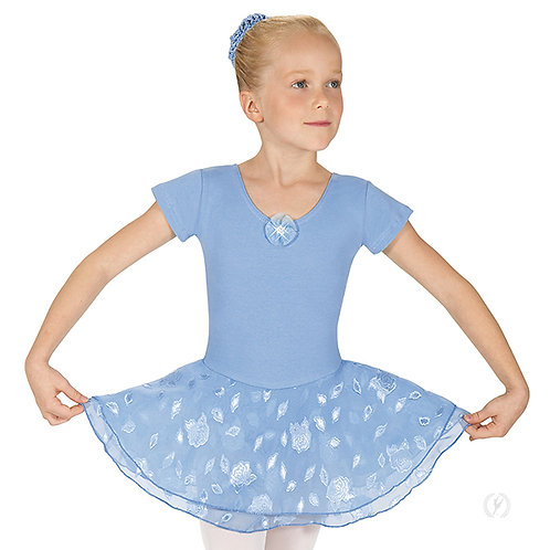 Girls Princess Rose Short Sleeve Dance Dress