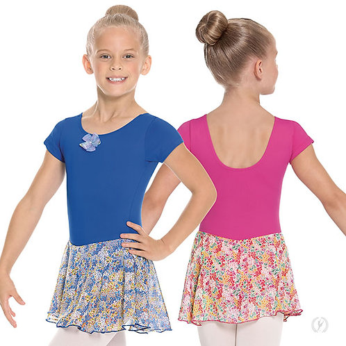 Girls Floral Short Sleeve Dance Dress