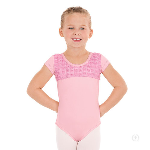 Girls Rosette Short Sleeve Leotard