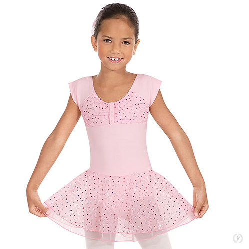 Girls Sequined Skirt Ruched Top Dance Dress