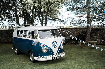 Wedding Car Hire Sussex Vintage VW Splitscreen front image with bunting and roofrack Selden Barns