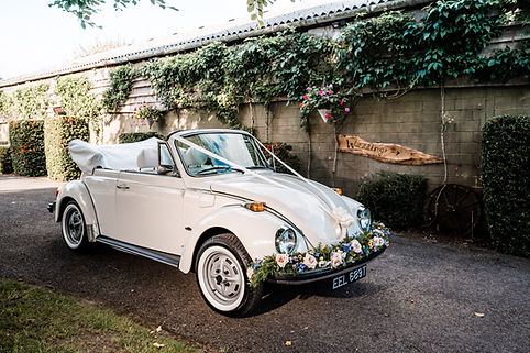 Wedding Car Hire Sussex Vintage VW Beetle side image Selden Barns