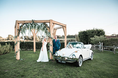 Wedding Car Hire Sussex Vintage VW Beetle gazebo image Selden Barns