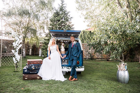 Wedding Car Hire Sussex Vintage VW Splitscreen Bus rear image with cake at Selden Barns