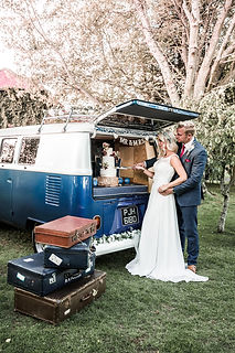 Wedding Car Hire Sussex Vintage VW Splitscreen Bus rear image Selden Barns