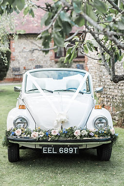 Wedding Car Hire Sussex Vintage VW Beetle front image Selden Barns